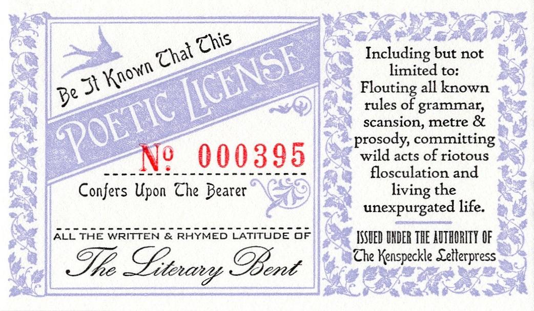 Poetic License-Kenspeckle Letterpress