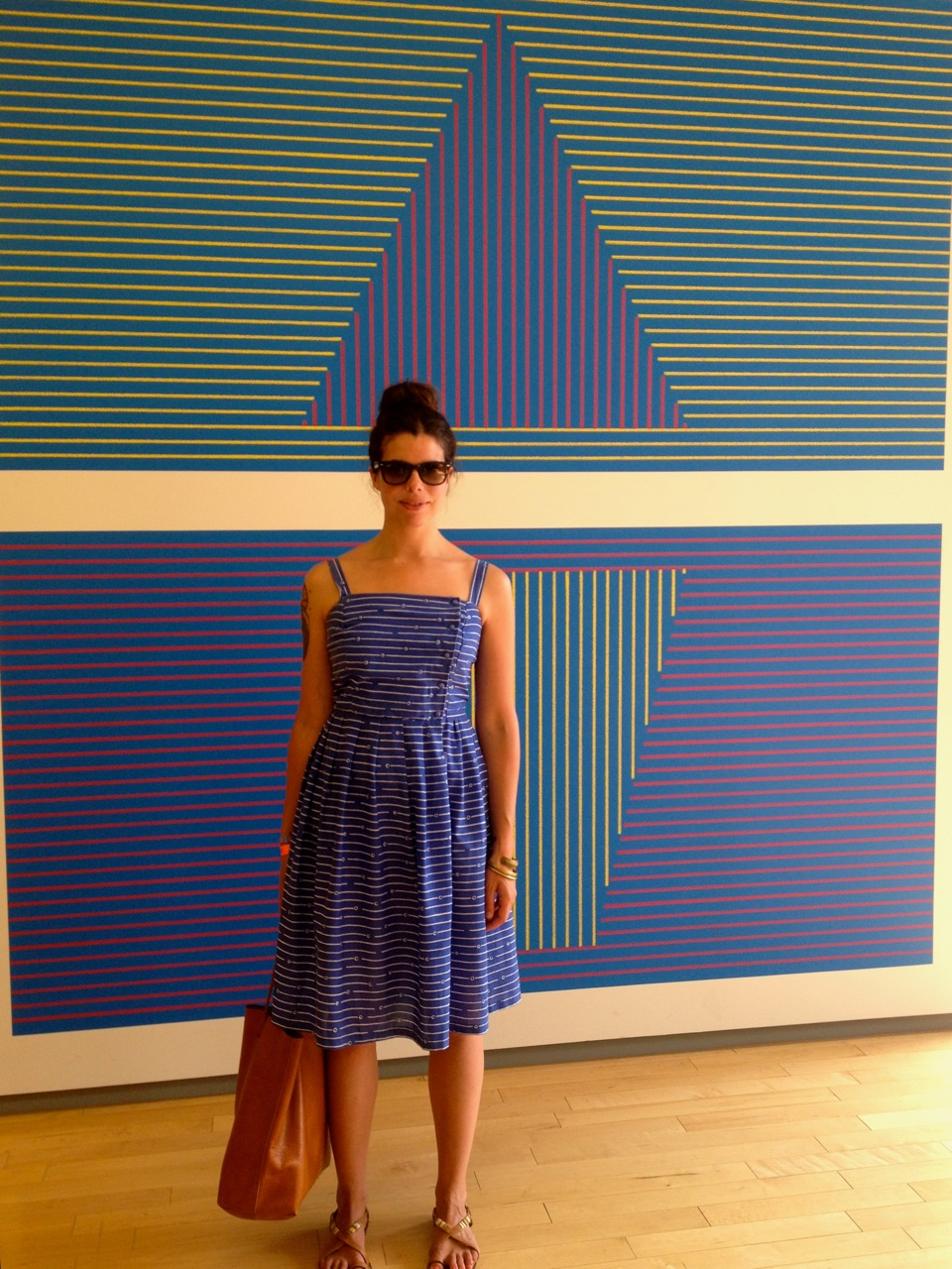 Lauren Faria in front of a Sol LeWitt drawing in the Mass MoCA galleries (Photo by Shruti Adhar)