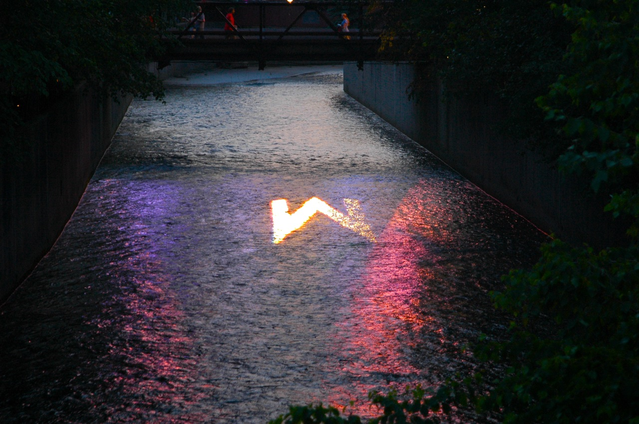 A projection on the ??? River. W for Wilco? (Photo by Michelle Aldredge)