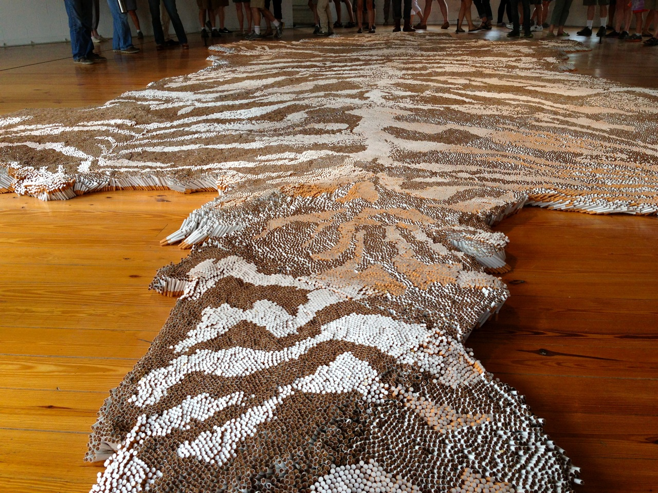 "One of the most interesting elements of 1st Class (besides the strong tobacco smell) was the way the texture of the ""tiger-skin rug"" changed as I moved around the piece. (Photo by Michelle Aldredge)"