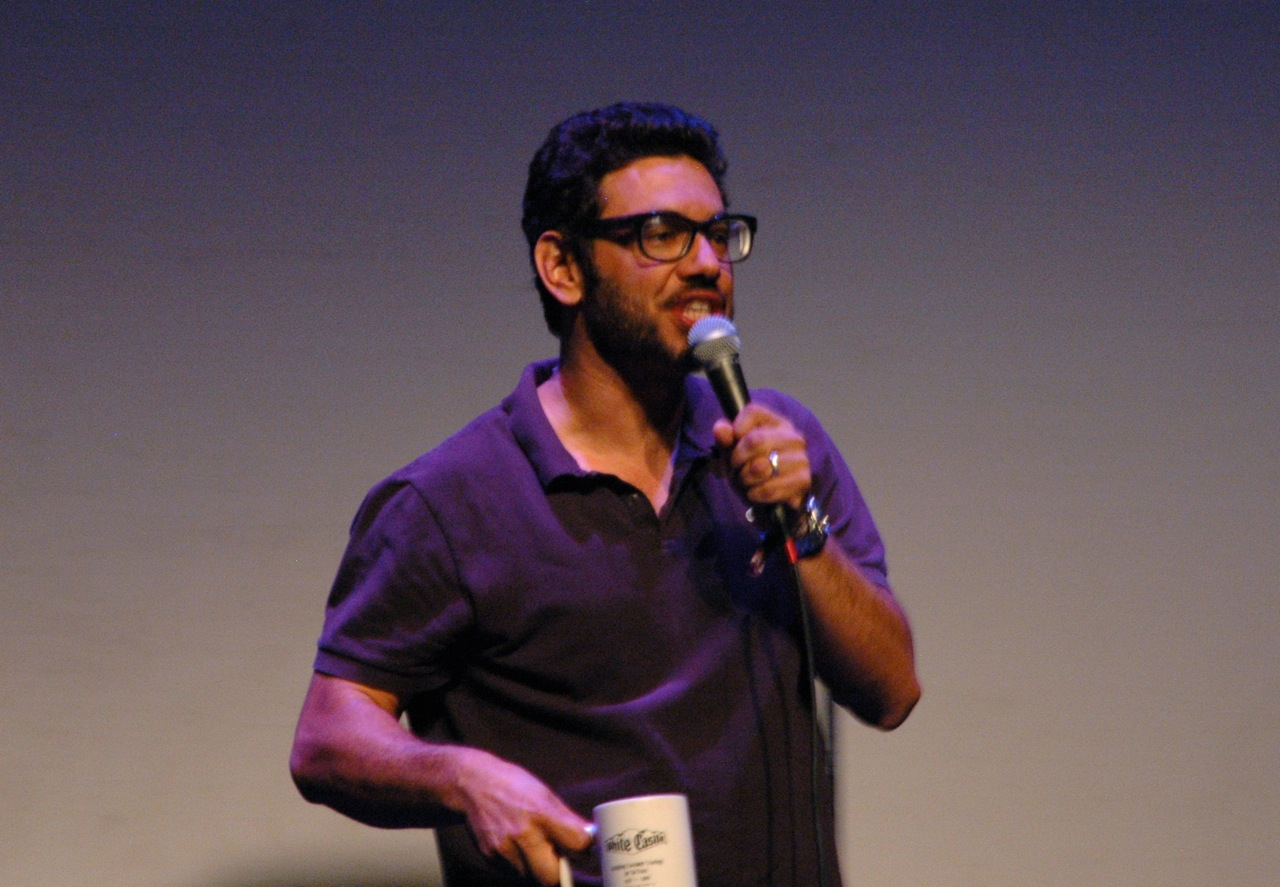 Comedian and Daily Show correspondent Al Madrigal performing on Saturday. He and John Hodgman got a lot of comic mileage out of one mother who allowed her young son, Ronin, to attend the adults-only performance. (Photo by Michelle Aldredge)