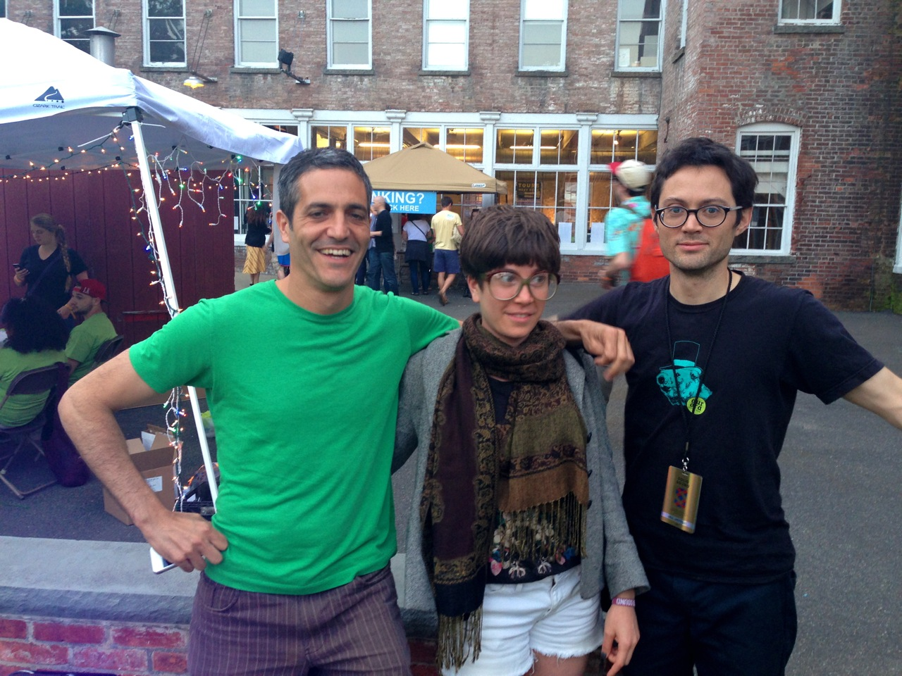 FIlmmaker Sam Green, dancer and artist Catherine Galasso, and filmmaker Brent Green (Photo by Michelle Aldredge)