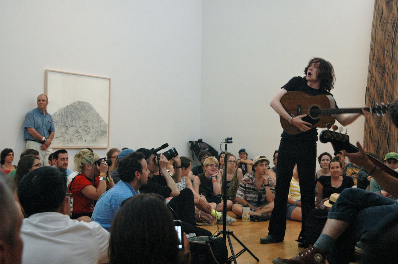 Foxygen performing a pop-up show inside one of the museum galleries. (Photo by Michelle Aldredge)