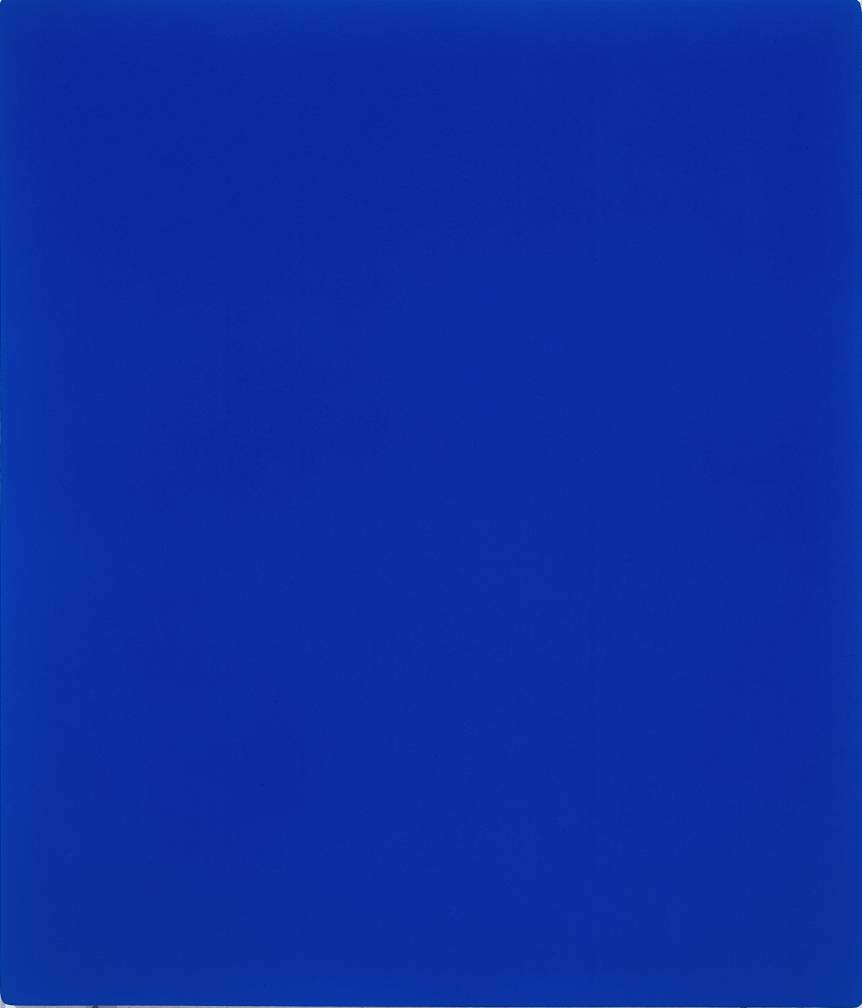 Pure Blue Paint On Canvas