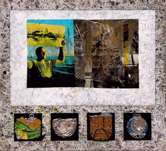 Joseph Bernard,  Alterpiece, 2009. Acrylic Paint & Collage on Wood Panel  22 inches (56cm) x 24 inches (61cm)