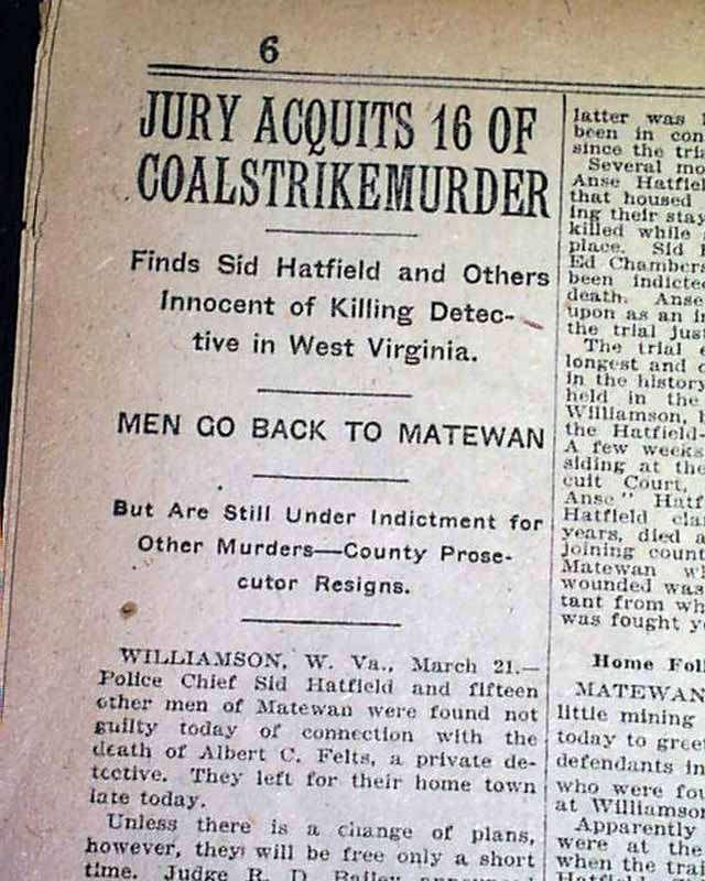 Battle of Matewan 1921 Newspaper