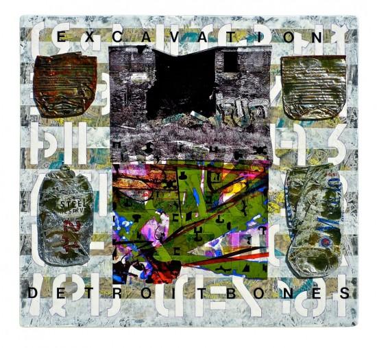 Joseph Bernard, Detroit Bones, 2010. Acrylic & Mixed Media on OSB Board