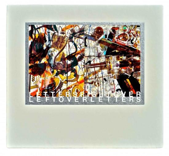 Joseph Bernard, Graffiti, 2010. Acrylic, Press Type, Photo Secals, Ink & Varnish on Wood/ OSB Panels. 20 x 24 inches