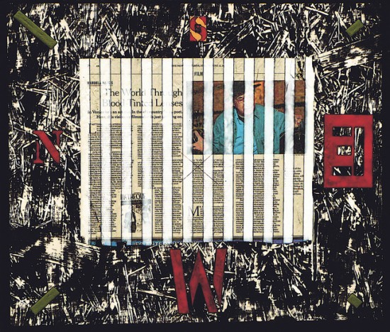 Joseph Bernard, Map for Mekas, 2005. Acrylic Paint & Collage on Wood Panel. 21 inches (53cm) x 24 inches (61cm)
