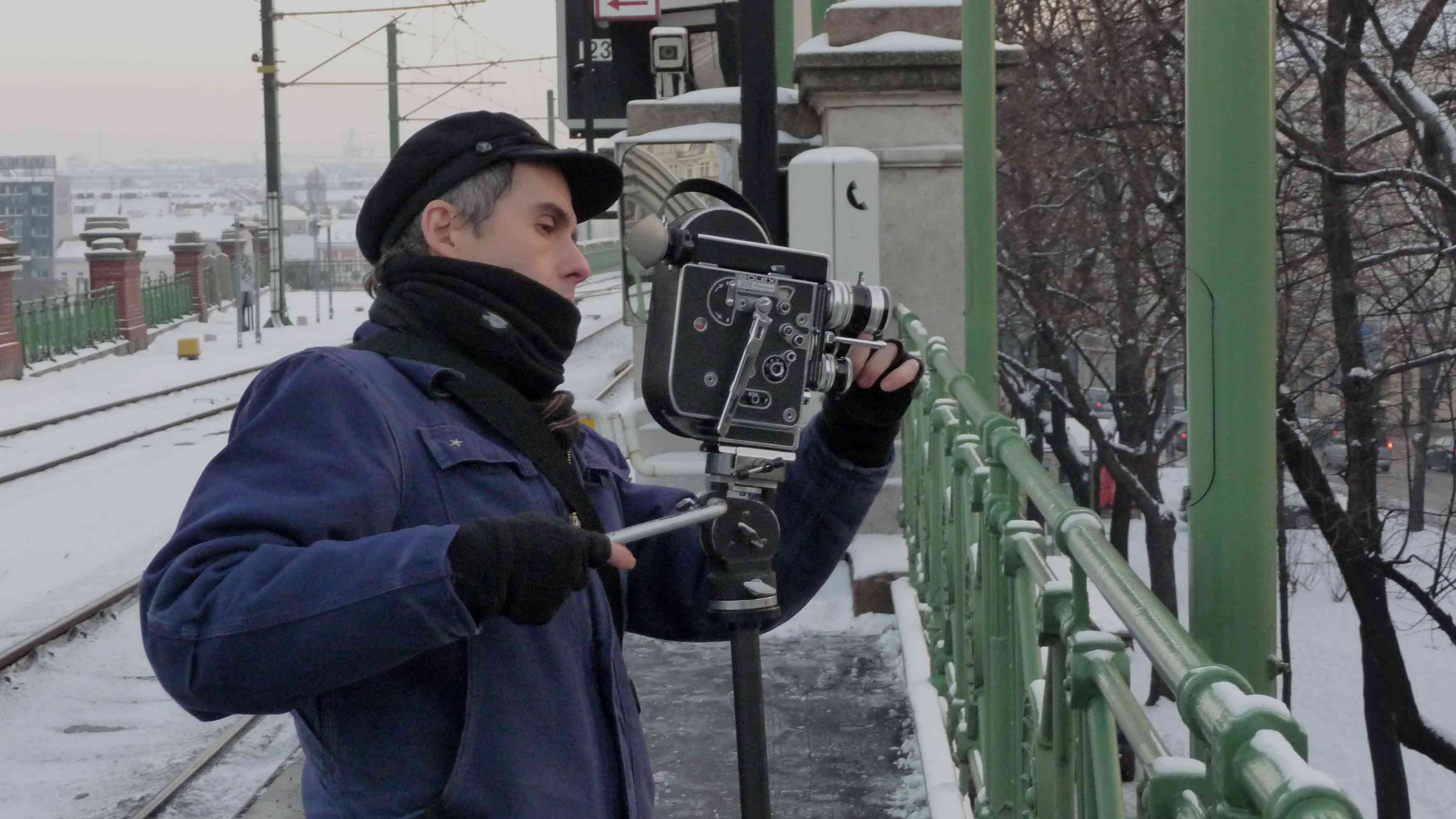 Cohen shooting footage in Vienna (Photo by Paolo Calamita)