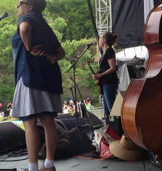 Neko Case's dog Liza hanging out on stage during the festival (Photo courtesy Neko Case via Facebook)
