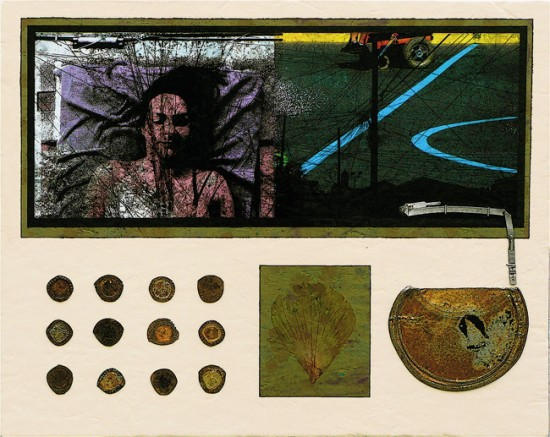 Joseph Bernard, Quiet Migration, 2009. Acrylic Paint & Collage on Wood Panel. 20 inches (51cm) x 25 inches (64cm)