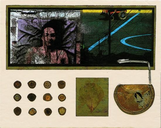 Joseph Bernard, Quiet Migration, 2009. Acrylic Paint & Collage on Wood Panel. 20 inches (51cm) x 25 inches (64cm)