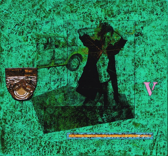 Joseph Bernard, Something Unsaid, 2009. Acrylic Paint & Collage on Wood Panel. 22.5 inches (57 cm) x 24 inches (61 cm)