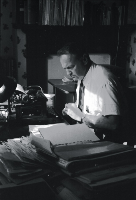 "Georgia writer James Dickey made his living working for an ad agency in Atlanta at the beginning of his career. ""Every time I had a minute to spare,... I would stick a poem in the typewriter where I had been typing Coca-Cola ads."" After several years of doing his own work on the clock, his boss fired him. (Photo courtesy Christopher Dickey and jamesdickey.blogspot.com)"