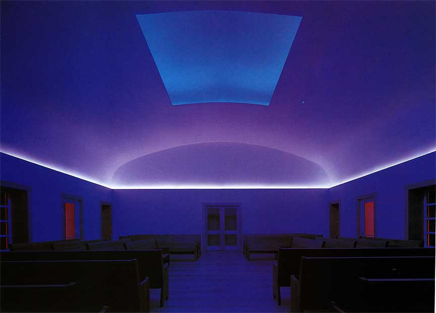 Turrell's Skyspace at the Live Oak Quaker Meeting in Houston augmented by colored electric light.  (Photo by Joe Aker)