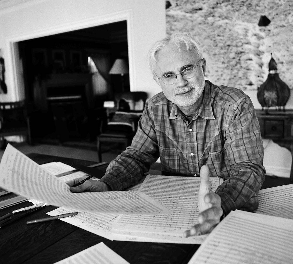 "Composer John Adams works in his studio from 9-5 each day, taking breaks to make ""endless cups of green tea."" As Currey explains, he takes a break from music in the evenings. ""At the end of the day I'm more apt to want to cook a nice meal or read a book or watch a movie with my wife."" (John Adams photo by Margaretta Mitchell courtesy the Library of Congress)"