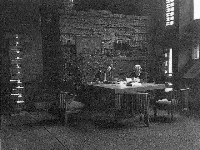 Frank Lloyd Wright in his study at Tal
