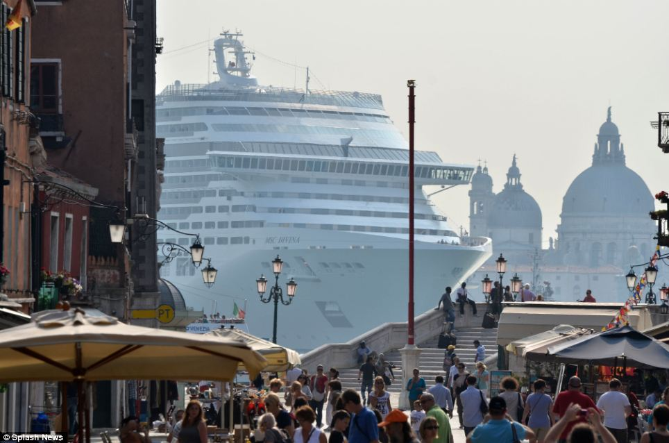 In the summer of 2012 a visit by the 140,000 ton MSC Divinia, the biggest cruise liner to ever enter the city of Venice, sparked anger among those who claimed the ship blocked views and polluted the air. The liner can carry more than 4,500 people and is named in honor of screen legend Sophia Loren. (Photo via The Daily Mail)
