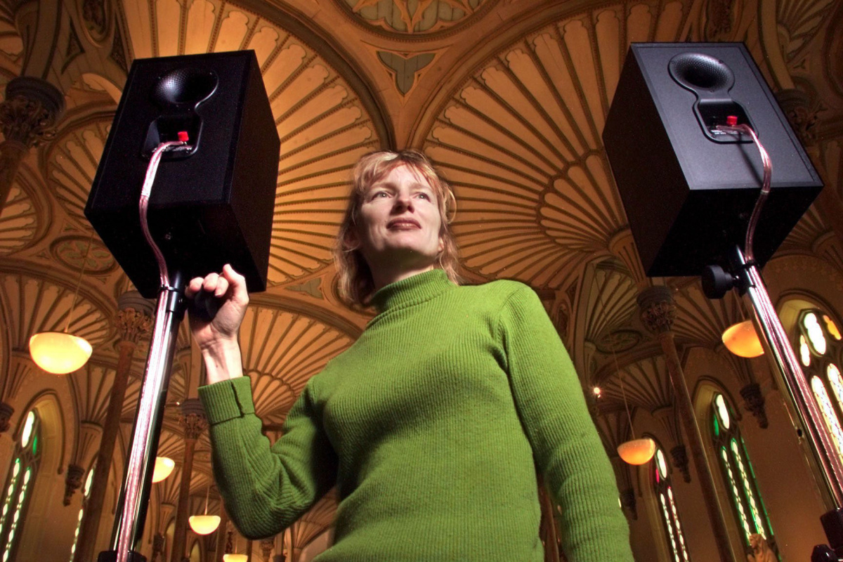 Janet Cardiff with The Forty Part Motet in Ottawa, Canada in 2001. The piece has been shown in approximately 30 venues around the world. (Photo by Wayne Cuddington via the Ottowa Citizen)