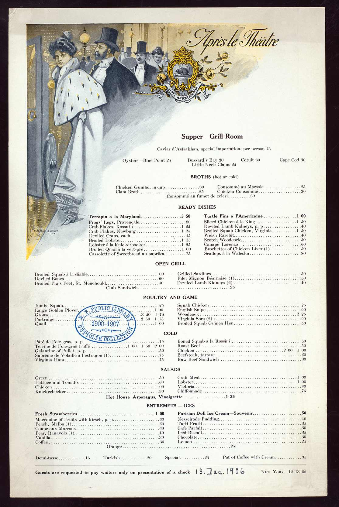 Port Hotel Restaurant Menu