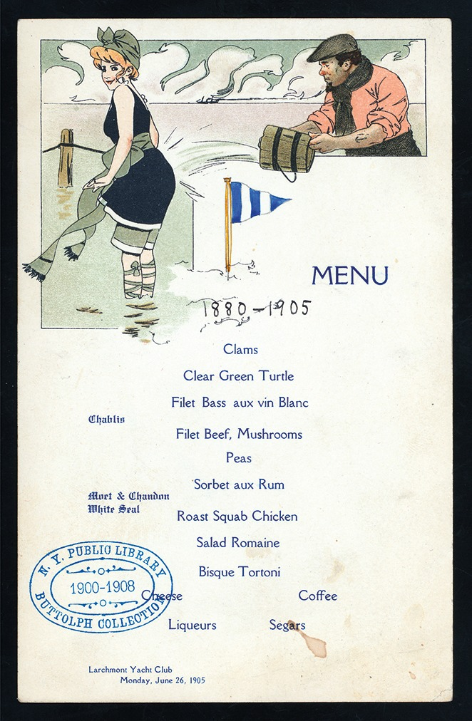 The 25th anniversary of the founding of the Larchmont Yacht Club in New York, 1905 (Menu courtesy the Buttolph Collection, Rare Books Division, The New York Public Library, Astor, Lenox, and Tiden Foundations. Click to Enlarge)
