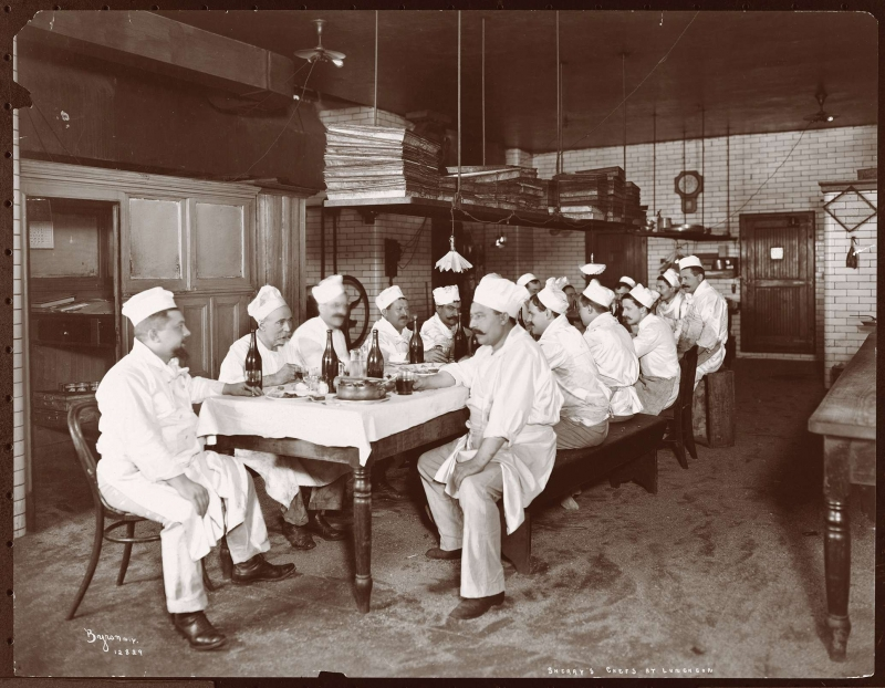 The chefs of Sherry's restaurant at luncheon in 1902 (Photo courtesy the Museum of the City of New York, the Byron Company Collection. Click to Enlarge)