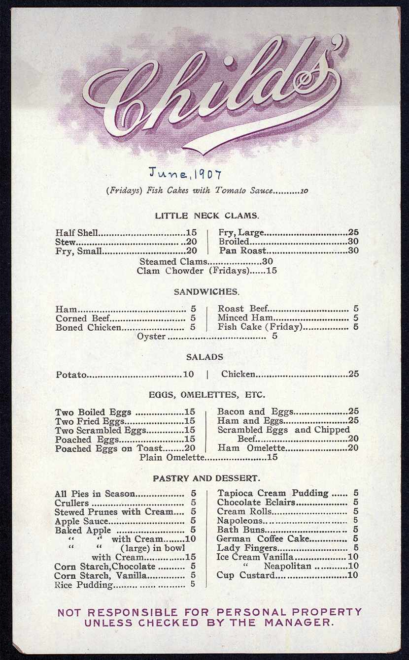 The daily menu from Childs' restaurant in 1907 (Photo courtesy the Buttolph Collection, Rare Books Division, The New York Public Library, Astor, Lenox, and Tiden Foundations)