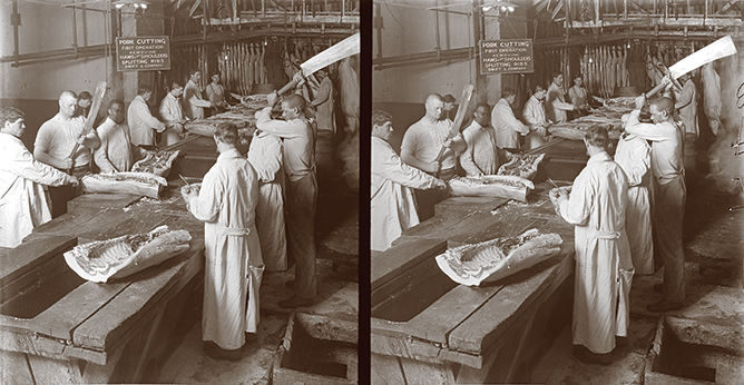 Cutting up hogs---removing hams and shoulder---at Swift & Co. (Photo courtesy Keystone-Mast Collection, UCR/California Museum of Photography, University of California, Riverside)