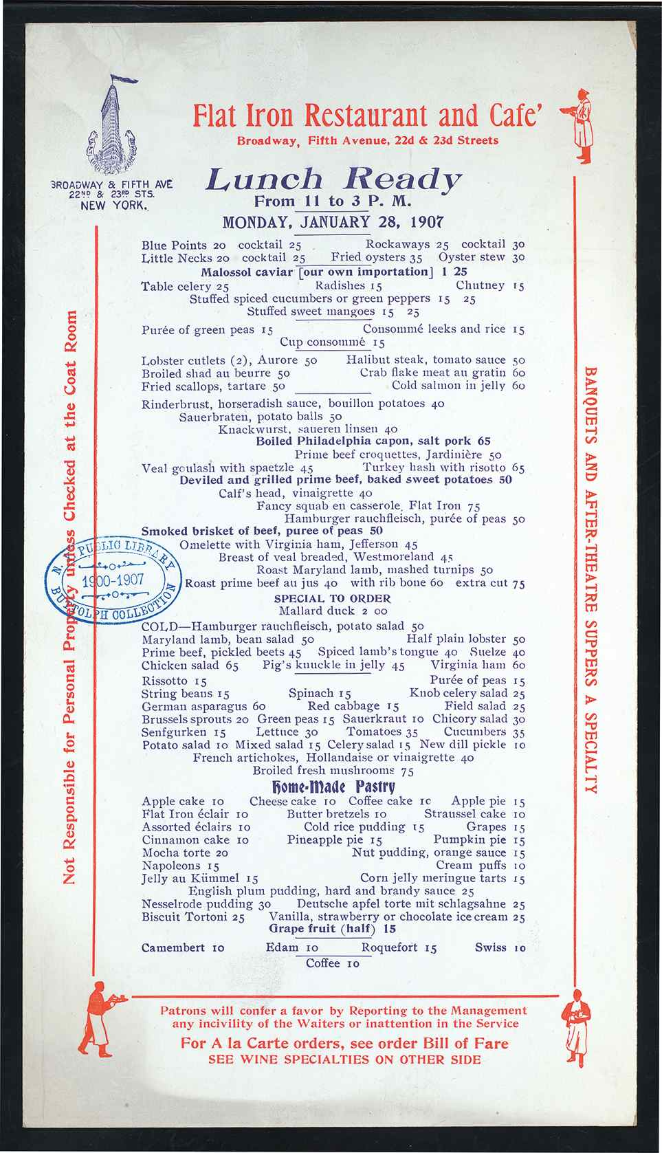 The menu of New York's Flatiron Restaurant and Cafe in 1906 (Menu courtesy the Buttolph Collection, Rare Books Division, The New York Public Library, Astor, Lenox, and Tiden Foundations. Click to Enlarge)