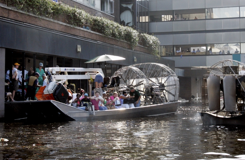 An airboat helped evacuate patients and staff from Memorial Medical Center in New Orleans after Hurricane Katrina. (Photo by Bill Haber • Associated Press file)