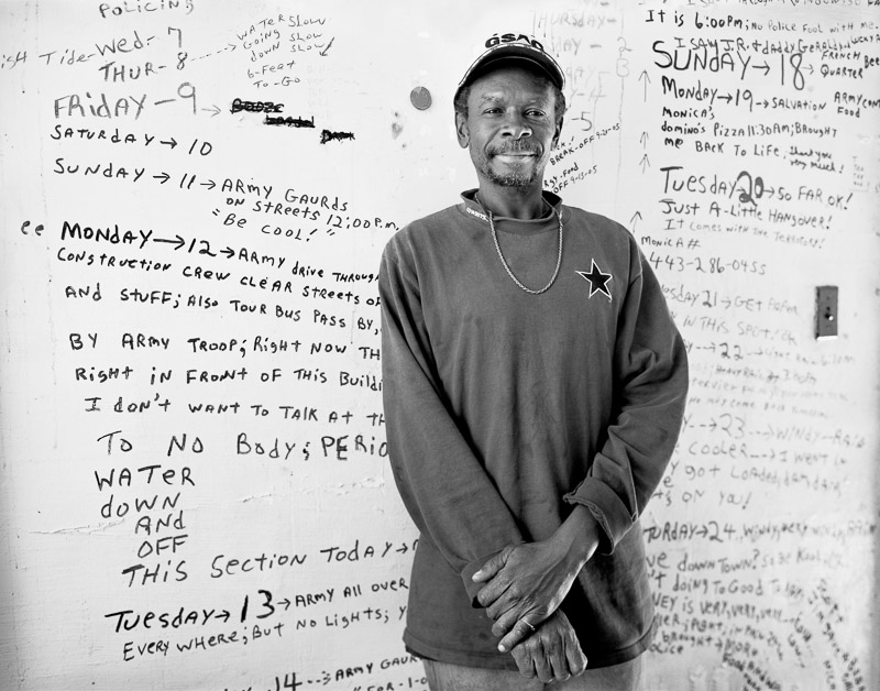 Photographer Thomas Neff met and photographed Tommie Elton Mabry on the day that city officials forced him to evacuate the apartment he had occupied during Hurricane Katrina. From the day before Katrina struck through October, Mabry wrote a storm journal on the walls of near-empty apartment in the B.W. Cooper Housing Development. The walls containing Mabry's entries are on view at the Louisiana State Museum. (Photo by Thomas Neff courtesy Lumiere Gallery)