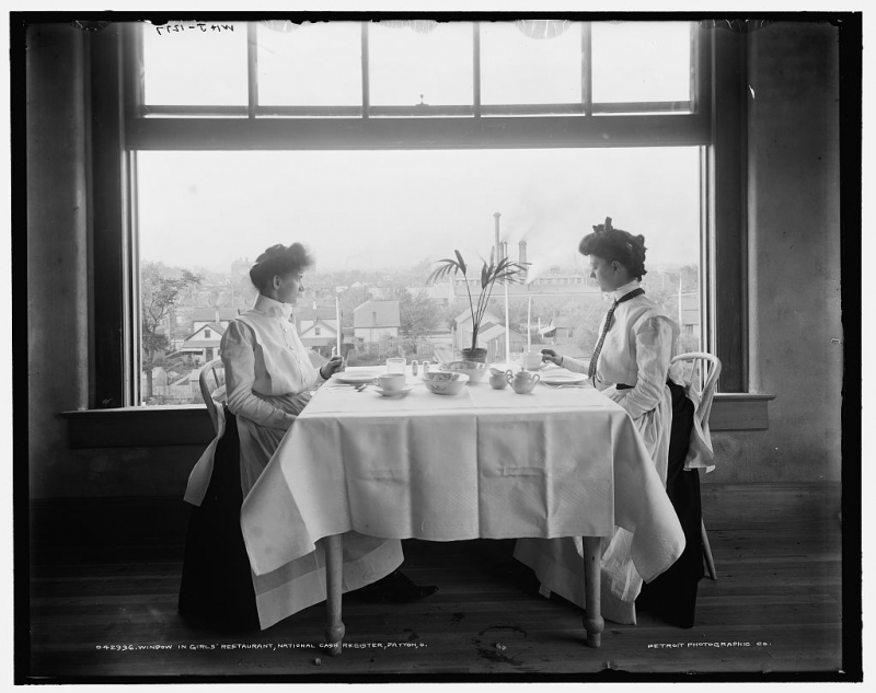 Window in girl's restaurant, National Cash Register Company, Dayton, Ohio, 1902 (Photo