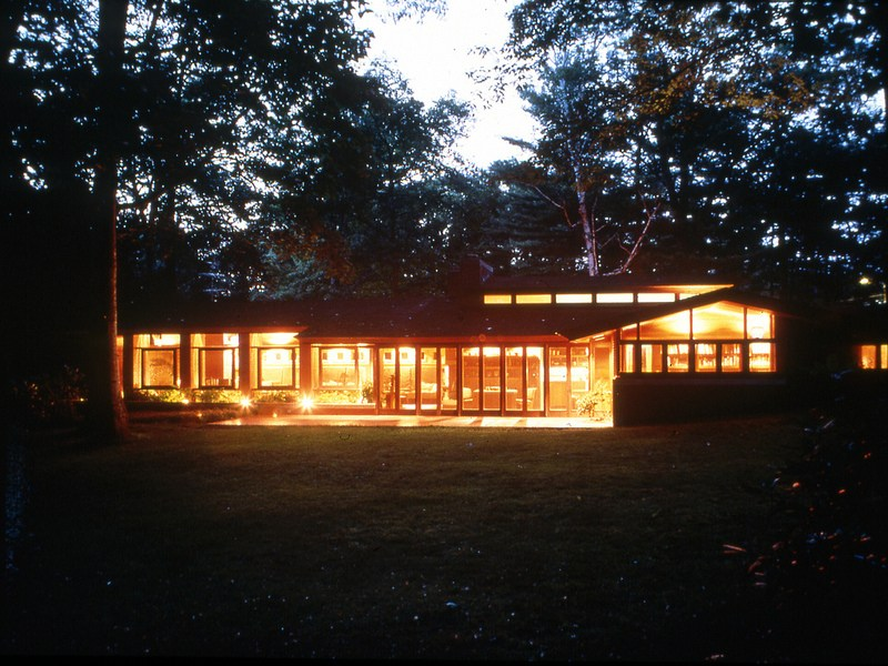 The exterior of  the Zimmerman House designed by Frank Lloyd Wright. The house is now owned by the Currier Museum of Art in Manchester, New Hampshire and is open for tours. (Photo courtesy the Currier Museum of Art)