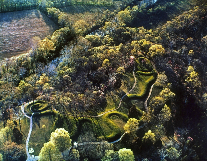 The Great Serpent Mound, an ancient Native American effigy, located in Adams County, Ohio. (Photo by Granger via fineartamerica.com)