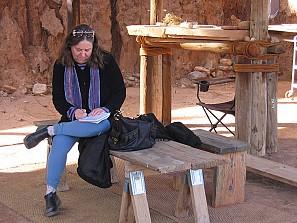 Miriam Sagan at The Land/An Art Site (Photo by Hope Atterbury)