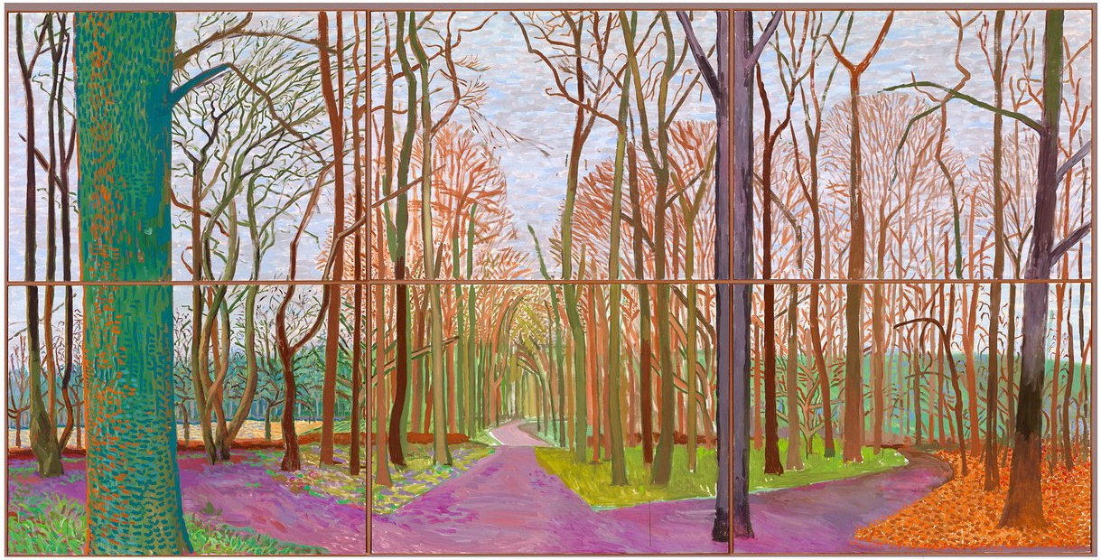 David Hockney, Woldgate Woods, 30 March–21 April 2006. Oil on 6 canvases (36 X 48 inches each) 72 x 144 inches overall (© 2013 David Hockney. Photo by Richard Schmidt courtesy the de Young Museum)