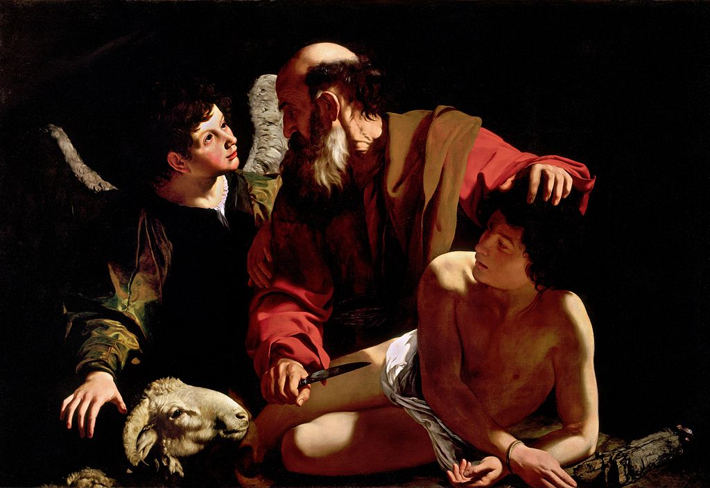 Caravaggio, Sacrifice of Isaac, c. 1598. Oil on canvas 46 in × 68 in. (Photo via Wikimedia Commons courtesy the Piasecka-Johnson Collection, Princeton, New Jersey)