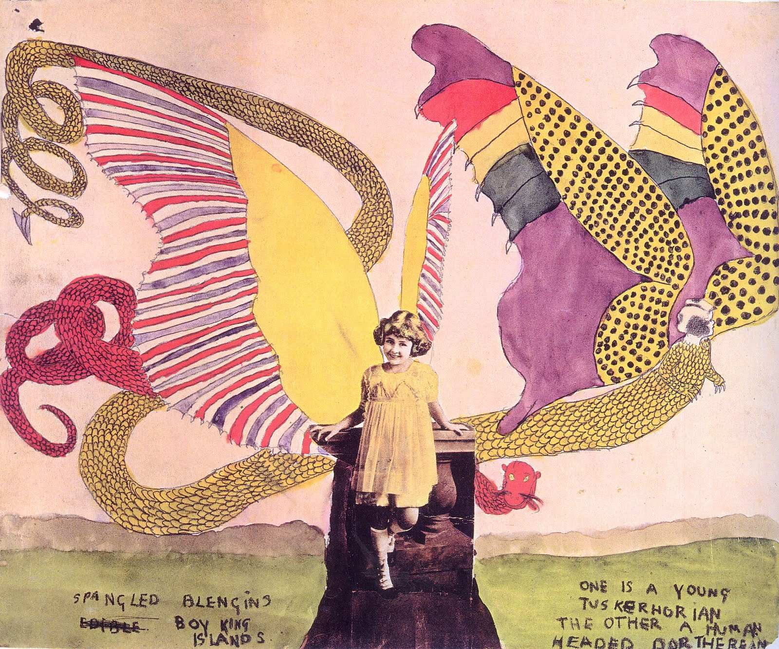 An art work and collage by Henry Darger. (Photo source unknown)