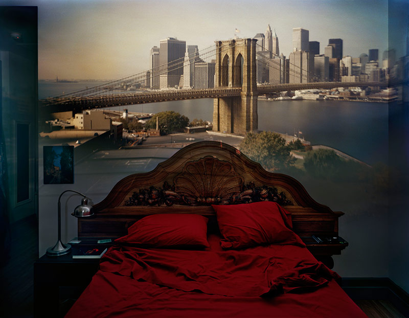 CAMERA OBSCURA: VIEW OF THE BROOKLYN BRIDGE IN BEDROOM, 2009. (ABELARDO MORELL)