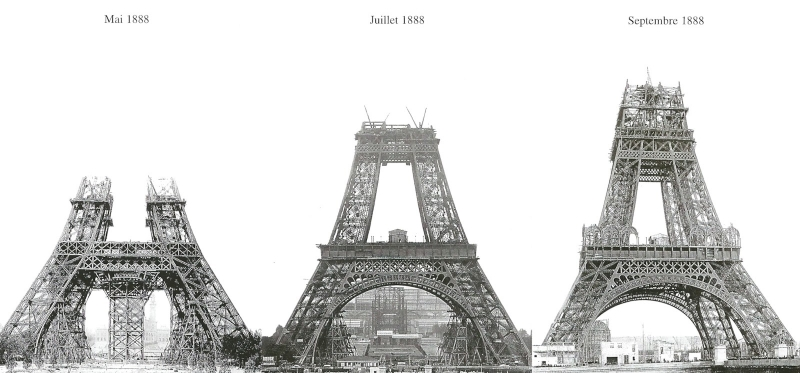 The Eiffel Tower under construction (Photo source unknown)