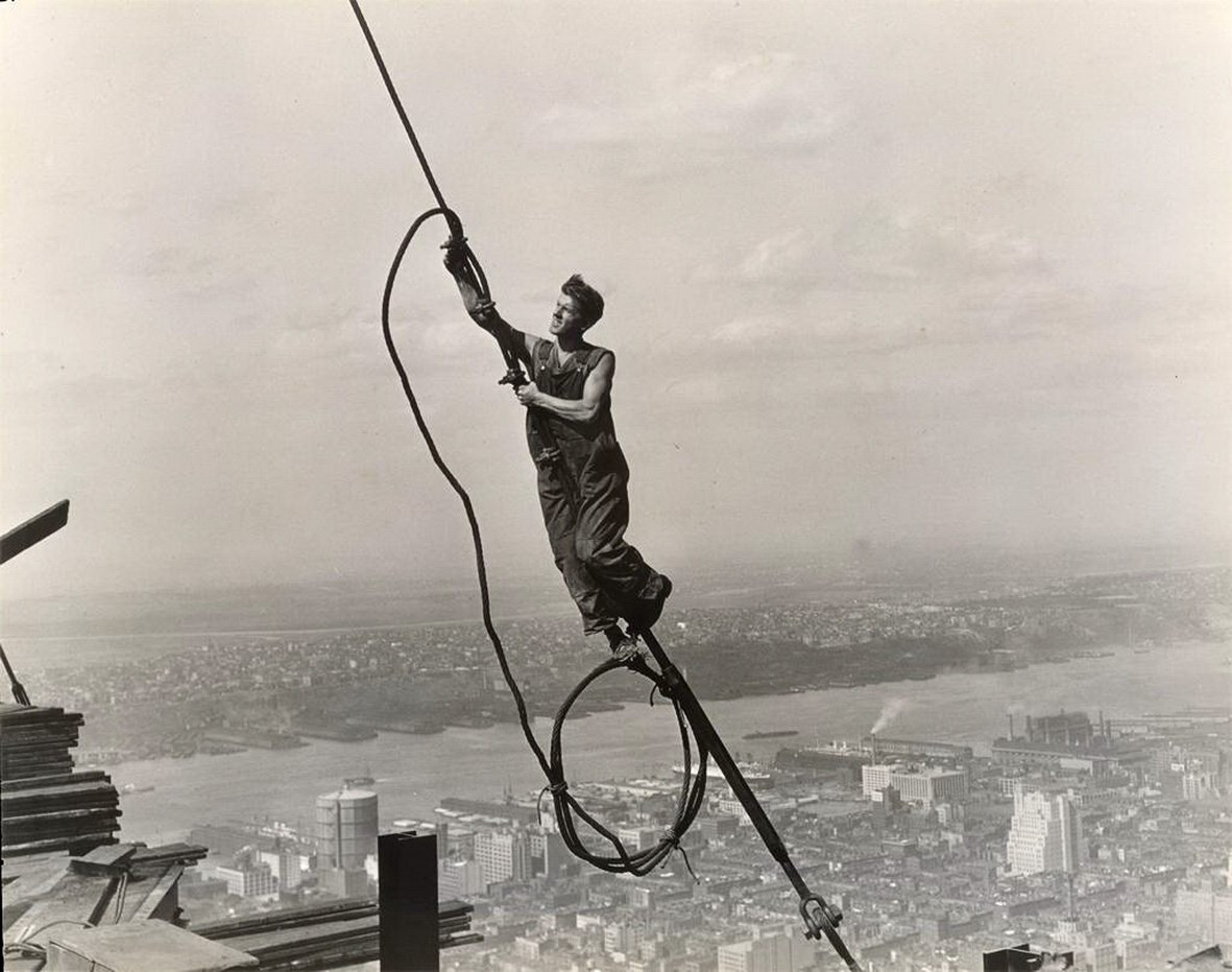 Lewis Wickes Hine, a construction worker at the Empire State Building, 1931. Gelatin Silver Print 7 1/2 X 9 1/2 in. (Photo courtesy the New York Public Library Digital Gallery)