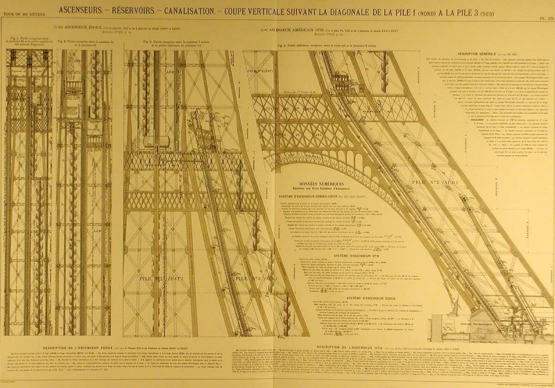 The original plans of the Eiffel Tower (Photo via laboiteverte.fr)