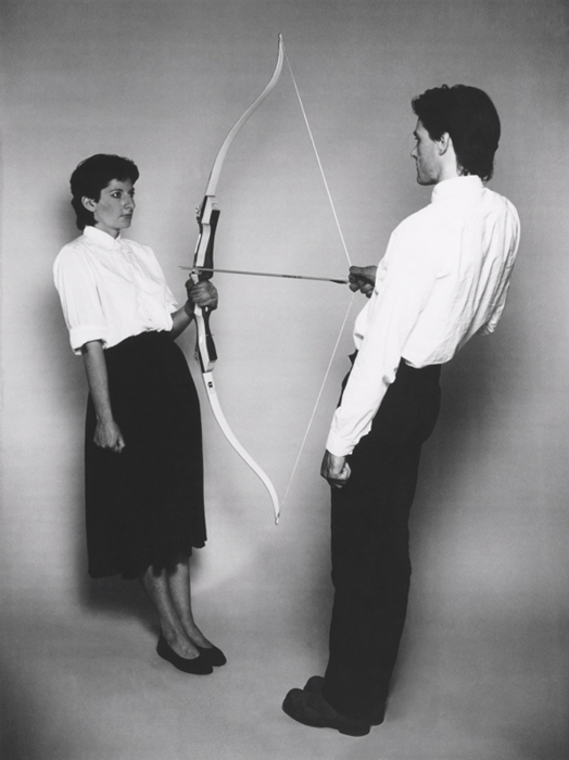 Marina Abramovic. Rest Energy with Ulay, 1980. (Photo courtesy the artist and Lisson Gallery via artobserved.com)