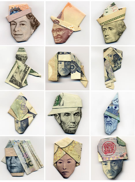 Hasegawa Yosuke uses currency notes as the base material to make creative Origami art.