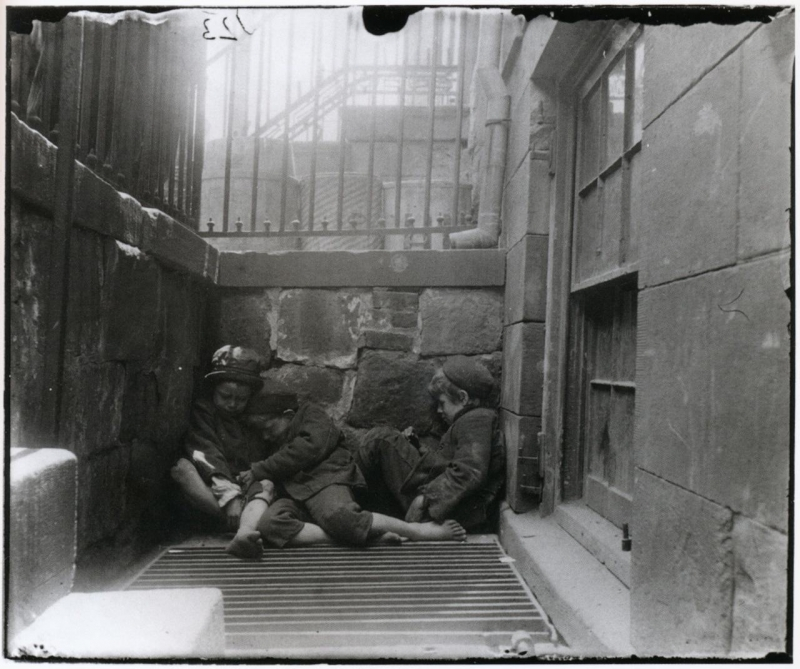 Boys sleeping on Mulberry Street in New York City (Photo by Jacob Riis from How the Other Half Lives)
