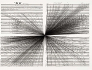 Marco Fusinato. Mass Black Implosion (Shaar, Iannis Xenakis). 2012. Ink on archival facsimile of score; framed. Part one of five parts. To make these drawings Fusinato chose a point on the page and then ruled a line from every note in the composition back to that point. This ongoing series, initiated in 2007, is founded—literally overlaid—on the scores of pioneering avant-garde composers. In the works on view here, Fusinato has drawn on a score penned by the Greek composer Iannis Xenakis (1922–2001), whose groundbreaking post–World War II works were deeply informed by mathematical and architectural logic, and, later, by computer programming. Xenakis worked for more than a decade in the studio of the architect Le Corbusier, and he often composed with an existing architectural site in mind. Here Fusinato has used Xenakis's score in the same way—as a pre-existing space. This drawing and others in the artist's Mass Black Implosion series have an immense gravitational density, which seems to suggest that all the notes should be played at once. Fusinato's intervention thus shifts the scores away from Xenakis's original intention, collapsing linear/durational performance into simultaneity. (Photo and caption via moma.org)