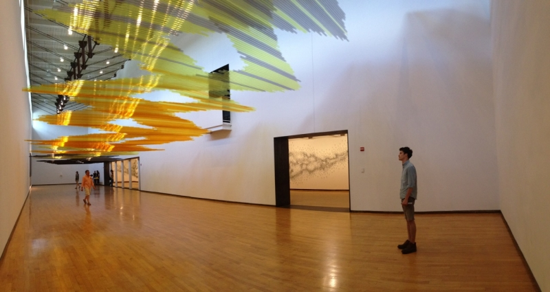 Angus McCullough at the Teresita Fernandez installation at Mass MoCA in North Adams, Massachusetts (Photo by Michelle Aldredge)