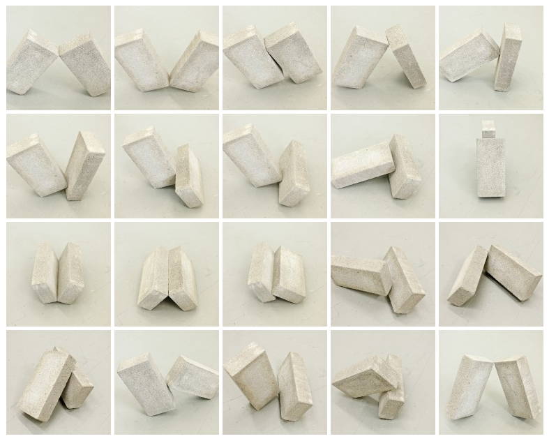 Angus McCullough, Cinder Blocks, 2013. 10 minutes in each position (Photos by Angus McCullough)