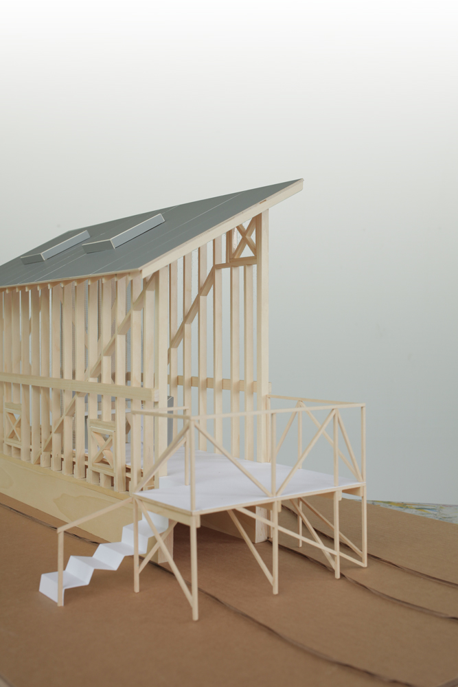 Angus' model of the corn crib (Photo by Angus McCullough)